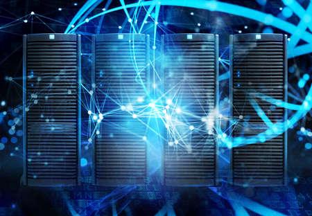 Foto de Concept of a data center room with database server and network effects. - Imagen libre de derechos