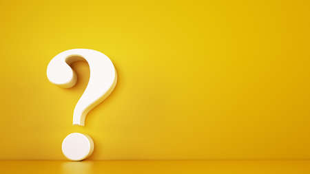 Foto de Big white question mark on a yellow background. 3D Rendering - Imagen libre de derechos