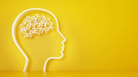 Photo for Big head with question marks inside brain on a yellow - Royalty Free Image