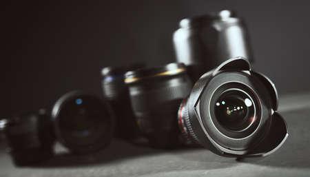 Photo pour Professional set of lens for reflex camera - image libre de droit