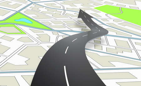 Photo pour Arrow shaped road indicating the direction above a navigation map. 3D Rendering - image libre de droit
