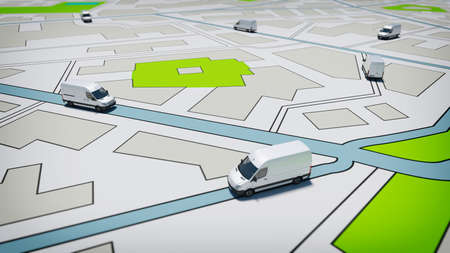 Photo pour Trucks on a road city map. Concept of global shipment and GPS tracking - image libre de droit