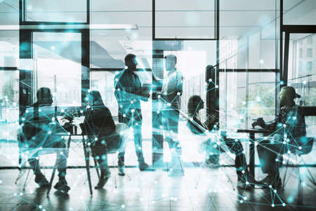 Photo pour Network background concept with business people silhouette working in the office. Double exposure and network effects - image libre de droit