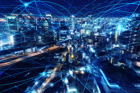 Photo pour Fast internet connection in the city at night. Concept of technology and innovation - image libre de droit