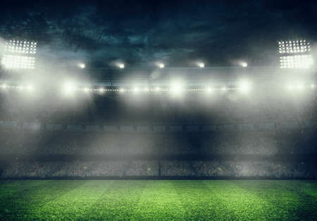 Photo pour Football stadium with the stands full of fans waiting for the night game. 3D rendering - image libre de droit