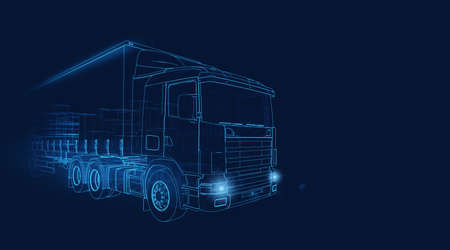 Photo pour Wireframe of a transporter truck moving fast on a dark blue background - image libre de droit