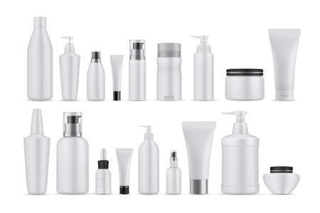 Illustration pour Realsitic cosmetic lotions set. Collection of realism style drawn plastic bottles for beauty and skincare body facial liquid soaps. Illustration of container packages and creams on white background. - image libre de droit