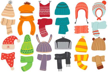 Illustration for Winter hats doodle set - Royalty Free Image