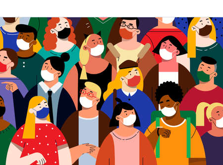Illustration for People in white face masks concept - Royalty Free Image
