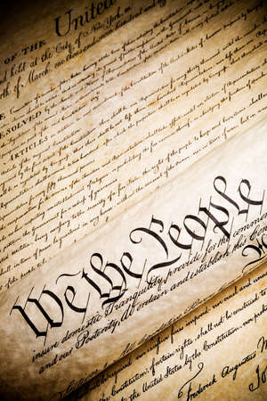 we the people - United States Constitution. Closeup, high contrast with light added grain.