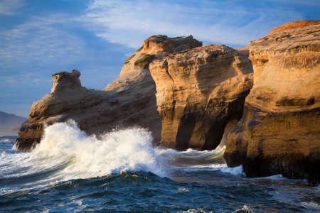 Ocean waves landscape - anticpation as large waves rush towards the Oregon Coast.