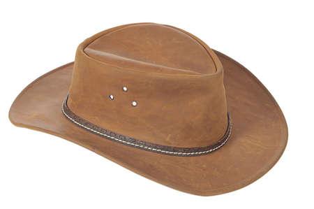 Foto de A brown cowboy hat on white background. - Imagen libre de derechos