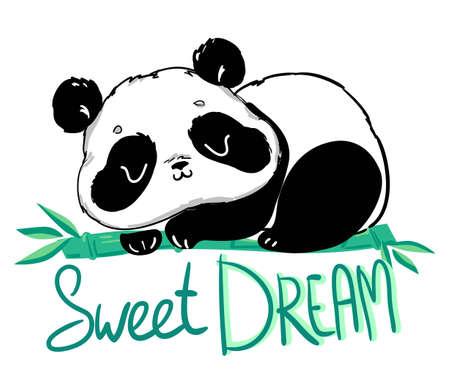Illustration pour Cute Panda sitting on the bamboo. Handwritten - Sweet dream. illustration. - image libre de droit