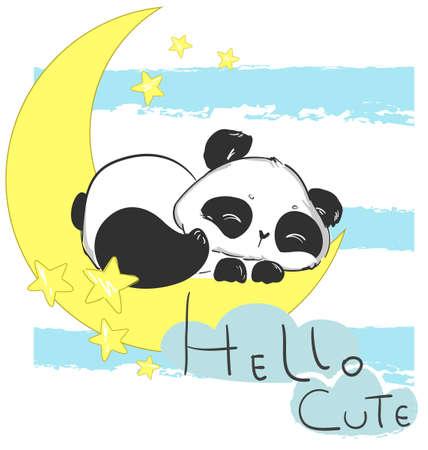 Illustration pour Hand drawn Cute Panda Bear Sleeping on the Moon. Childrens print for pajamas. Childish fairytale illustration. Vector. - image libre de droit