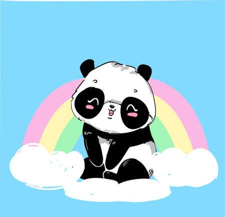 Illustration for Cute Panda Bear, vector illustration. hand drawn panda with rainbow. Design print for t-shirt. - Royalty Free Image