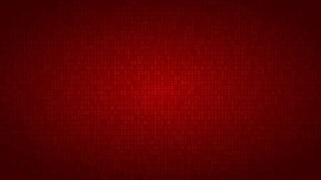 Abstract background of zeros ad ones in red colors.