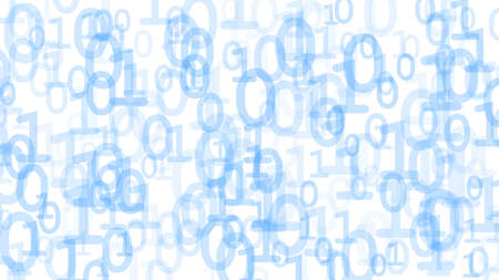 Abstract background of ones and zeros in various sizes, light blue on white