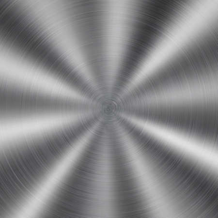 Illustration pour Abstract shiny metal background with circular brushed texture in silver color - image libre de droit