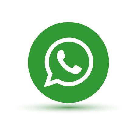 Foto de VORONEZH, RUSSIA - JANUARY 31, 2020: Whatsapp logo green round icon with shadow - Imagen libre de derechos