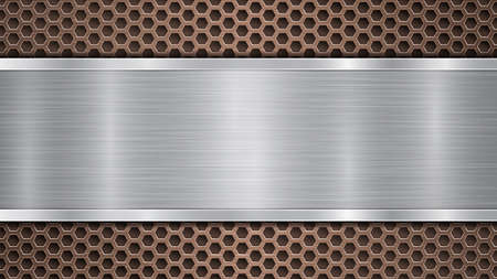 Illustration pour Background of bronze perforated metallic surface with holes and horizontal silver polished plate with a metal texture, glares and shiny edges - image libre de droit