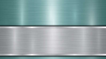 Illustration pour Background consisting of a light blue shiny metallic surface and one horizontal polished silver plate located below, with a metal texture, glares and burnished edges - image libre de droit