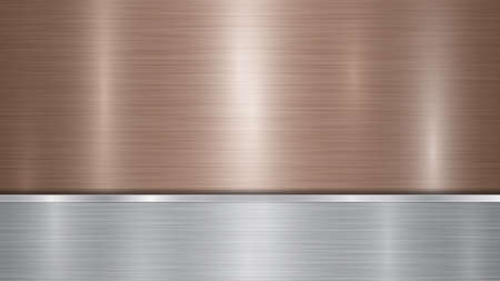 Illustration pour Background consisting of a bronze shiny metallic surface and one horizontal polished silver plate located below, with a metal texture, glares and burnished edges - image libre de droit