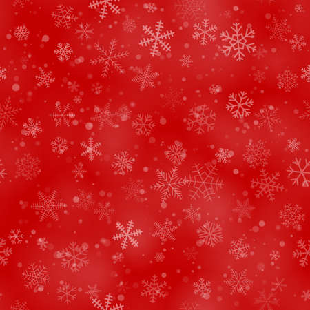 Illustration for Christmas seamless pattern of snowflakes of different shapes, sizes, and transparency, on a red background - Royalty Free Image