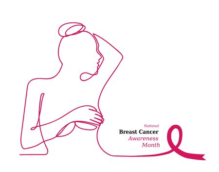 Illustration pour Pink ribbon,womens breast outline vector illustration. One line drawing concept, poster for Pink ribbon, National Breast Cancer Awareness Month. - image libre de droit