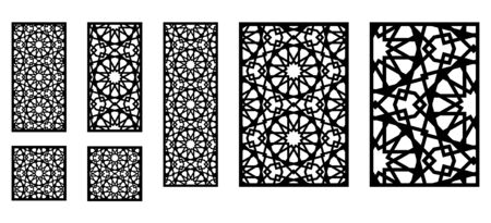 Photo for Set of decorative moroccan vector panels for laser cutting. Template for interior partition in arabesque style. - Royalty Free Image