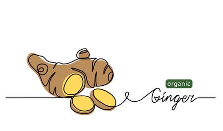 Illustration pour Ginger vector illustration. One line drawing art illustration with lettering organic ginger. - image libre de droit