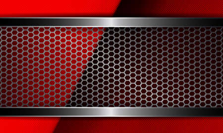 Illustration for Geometric abstract red embossed design with metal mesh frame. - Royalty Free Image