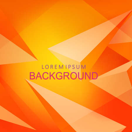 Illustration for Composition with orange color gradient, triangles with 3D effect - Royalty Free Image