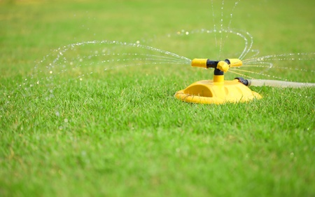 installation of water sprays on green lawn