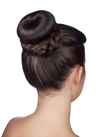 Photo pour elegant hairstyle bun with braid isolated on white background - image libre de droit