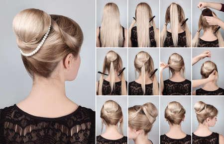 Photo pour Hairstyle tutorial  elegant bun with chignon and string of pearls. Woman blonde with retro hairdo bun - image libre de droit
