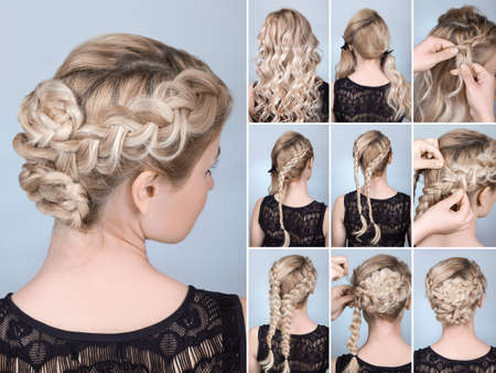 Photo pour hairstyle braid on blonde model tutorial. Hairdo for long hair - image libre de droit