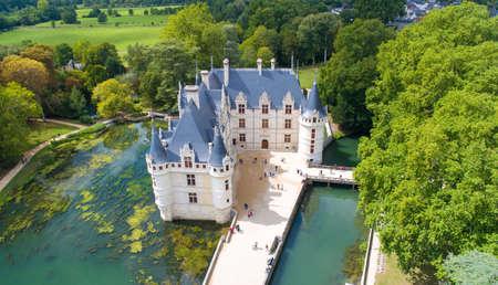 Azay Le Rideau castle in Indre et Loire, France