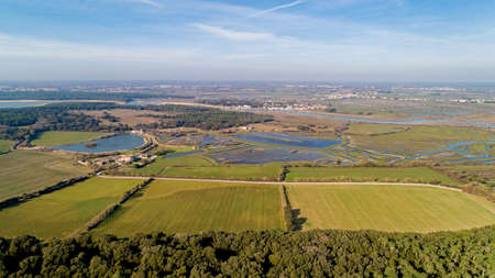 Aerial view of the Bouliniere marshes and Talmont Saint Hilaire
