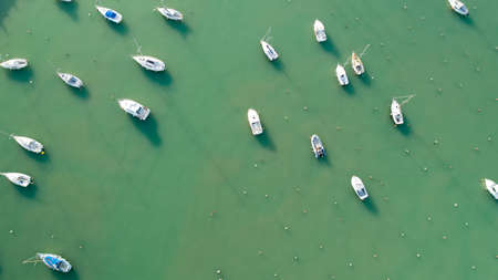 Aerial view of boats in Jard sur Mer port, Vendee