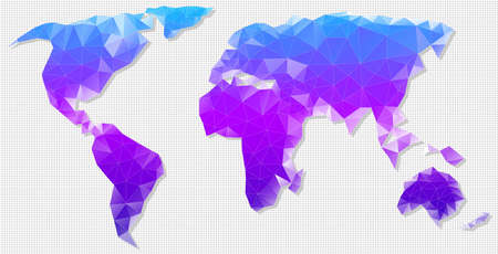 Vector polygon map of the world. Vector illustration