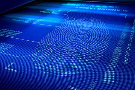 identification system interface scanning a human fingerprint