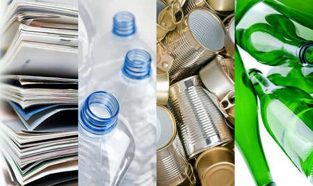 Foto de Recyclable materials paper metals plastic and glass bottles in four frames - Imagen libre de derechos