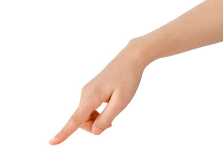 Foto de young hand in the gesture of touching, pushing, indicating - Imagen libre de derechos