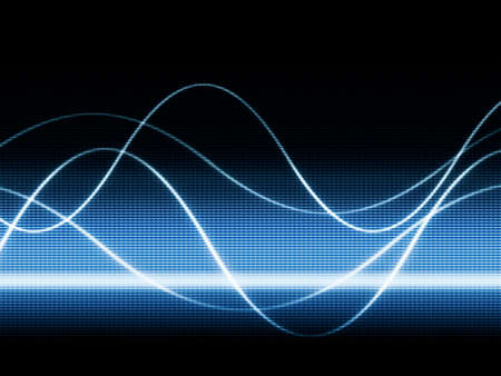 close up of blue monitor displaying sines curves