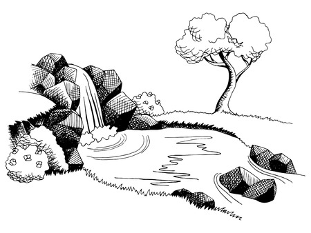 Source waterfall graphic art black white landscape illustration vector