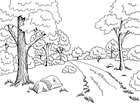 Illustration pour Forest road graphic art black white landscape sketch illustration vector - image libre de droit