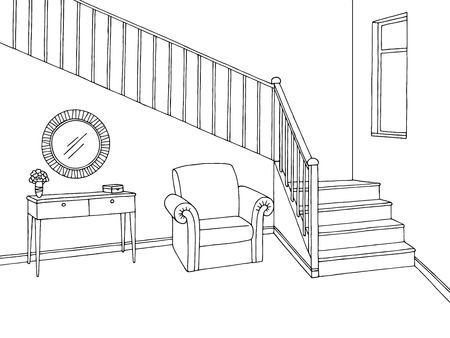 Illustration for Hallway graphic stairs black white interior sketch illustration vector - Royalty Free Image