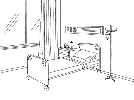 Illustration for Hospital ward graphic black white interior sketch - Royalty Free Image