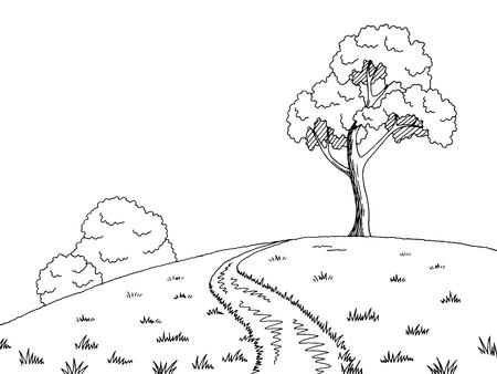 Illustration pour Rural road graphic black white landscape sketch illustration. - image libre de droit