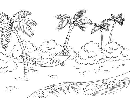 Illustration pour Sea coast hammock graphic black white landscape sketch illustration vector - image libre de droit